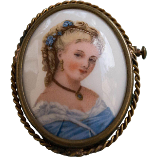 Hand Painted, Signed, Limoges Brooch