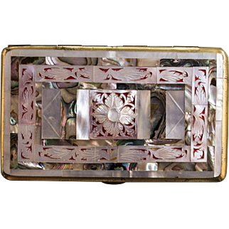 Vintage Cigarette Case, Mother Of Pearl & Abalone 1950's Cigarette Case