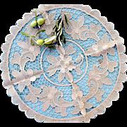 Handmade Vintage Venice Lace Doily, 16'' round