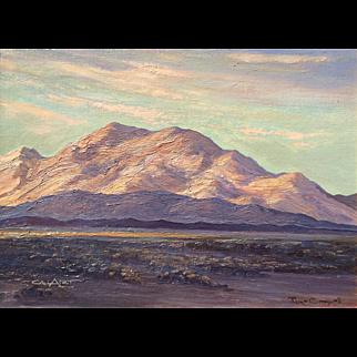 Original JOANE CROMWELL (1895-1969), Las Vegas at Sunset oil painting