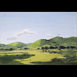 JADE FON Horses in California Landscape watercolor