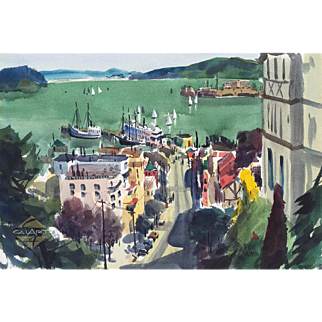 JADE FON (1911-1983, Fisherman's Wharf and Alcatraz - San Francisco, California Scene Watercolor