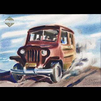 Original Rex Brandt - 1940s WILLYS WAGON CaLiFoRnia Watercolor painting