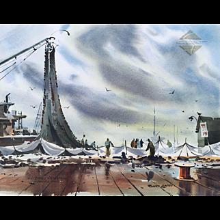 ROBERT LANDRY  (1921-1991), 1969 San Diego Waterfront painting