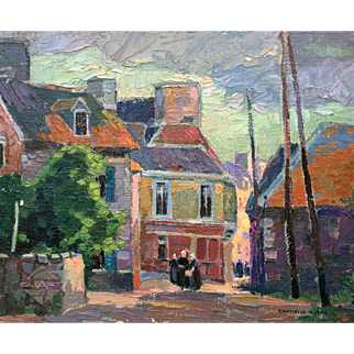 Original 1920s CORNELIUS BOTKE cityscape oil painting