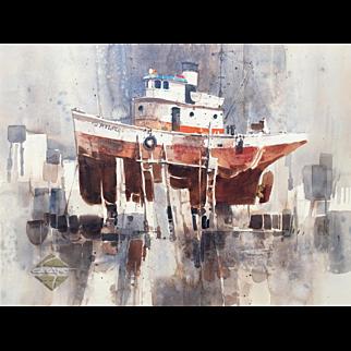 Ritchie Benson Drydock Boat Watercolor