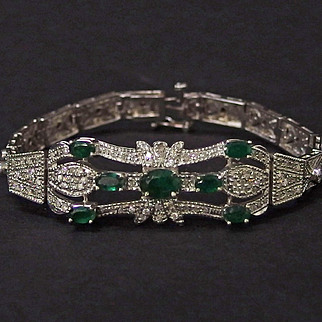 Art Deco 14 karat white gold emerald & diamond bracelet