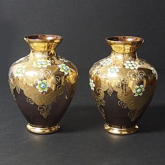 Pair of Venetian glass hand-painted vases