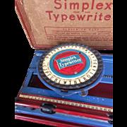 Simplex Typewriter Model 100 Toy with Original Box