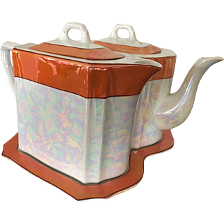 German Lusterware Coffee Pot and Tea Pot with Tray