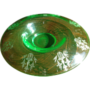 Green Tiffin Depression Glass Etched Roll Over Bowl