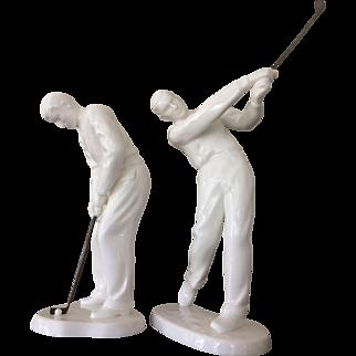 Noritake Procelain Golf Figurines with Brass Clubs