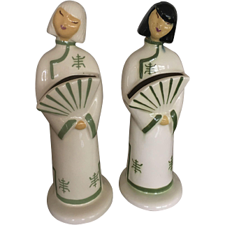 Set of 2 Porcelain Figurines of Chinese Ladies in Traditional Dress by Heidi Shoop signed by Artist