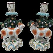 Pair Samson Porcelain Bocage Sheep Candlestick Figurines circa 1850