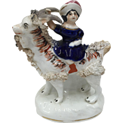 Victorian Staffordshire Pottery Figural Group  Girl with Goat circa 1840