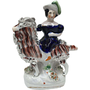 Victorian Staffordshire Pottery Girl with Goat circa 1840