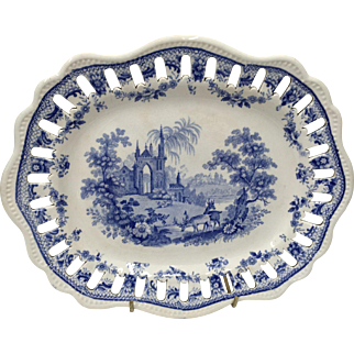 Antique Blue & White Staffordshire Transfer Printed Reticulated Dish circa 1830