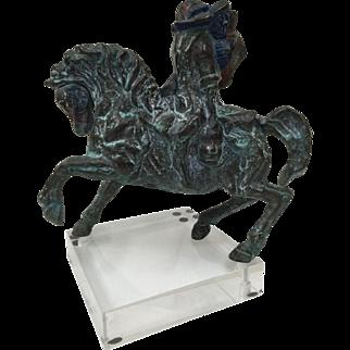 Artist Modelled   Bronze Figural Group Signed Piece