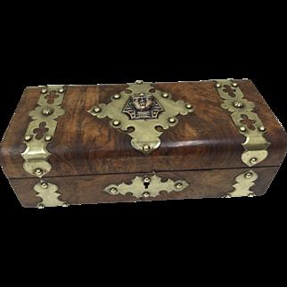 Mid Victorian Burr Walnut  Egyptian Pharaoh Glove Box circa 1850