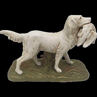 Early Royal Dux Porcelain Golden Retriever Dog Figurine with Game Bird