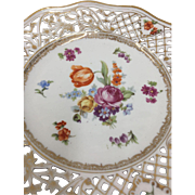 Vintage Dresden Reticulated Cabinet Plate