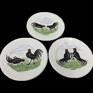 Antique Set 3 Cockfighting Plates circa 1875