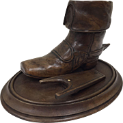 Antique Beechwood Carved Treen Boot and Boot Jack circa 1899