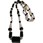 Dynamic Long Art Deco Crystal and Jet Bead Necklace