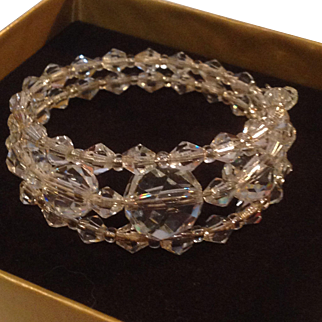 Unusual Triple Wrap Crystal Bracelet
