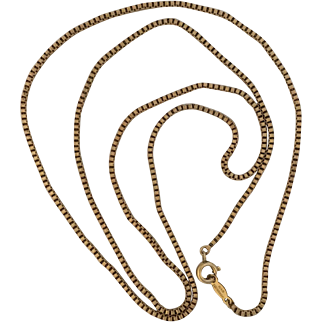 Vintage Gold Filled Box Link Long Chain