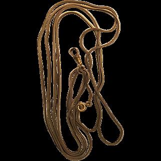 Unusually Long Vintage Herringbone Gold Filled Watch Chain