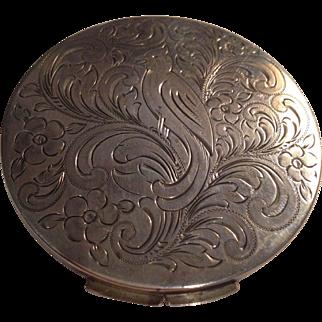 Beautiful Mint 835 Silver Art Nouveau Compact w Bird Motif