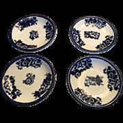 Magnificent Set of Four Copeland Flo Blue Butter Pats