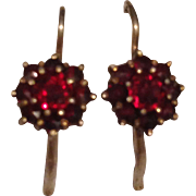 Sweet Victorian Sterling Silver Garnet Cluster Earrings