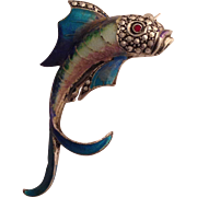 Vintage Alice Caviness Sterling Enamel and Marcasite Fish Pin/Brooch
