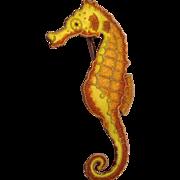Vintage Sterling Enamel Seahorse Pin