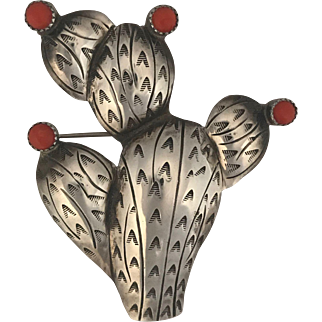 Sterling Silver Vintage Southwestern Cactus Pin w Coral