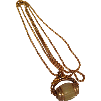 Gold Filled Mother of Pearl Barrel Fob w Chain