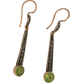Art Deco Gold and Silver Peridot and Rose Diamond Drop Earrings