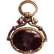Beautiful Gold Filled Intaglio Spinner Fob