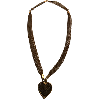 Unusual Victorian Hair Necklace with Heart Charm