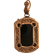 Ornate Rose Gold and Onyx Victorian Locket w Hand Bale