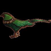 Victorian Enamel Pheasant Pin w Paste Collar