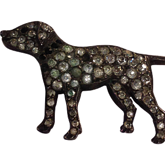 Sweet Victorian Silver Paste Dog Pin