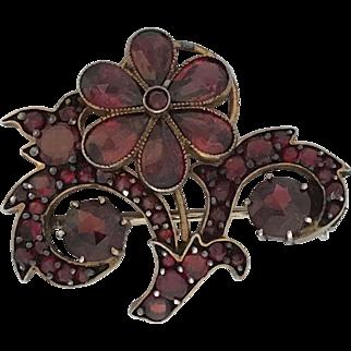 Beautiful 1920's Garnet Silver Floral Spray Pin