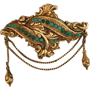 10K Gold Victorian Brooch/Pin w Turquoise