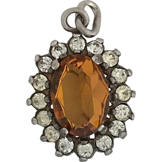 Vintage Citrine Glass and Paste Pendant