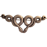 Vintage Sterling Silver Large Double Snake Pin