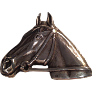 Magnificent Large Sterling Vintage Horsehead Pin
