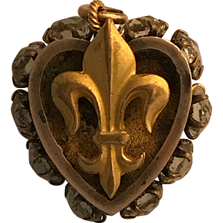 Early Victorian Silver/Gold Filled Paste Fleur-Di-Lis Pendant/Charm